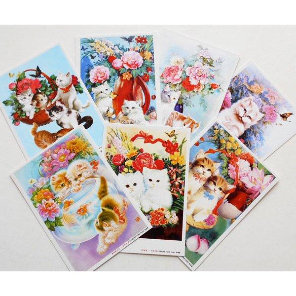 画像1: 猫と花のポストカードセット