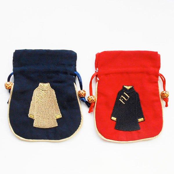 画像1: チャイナ服刺繍巾着袋