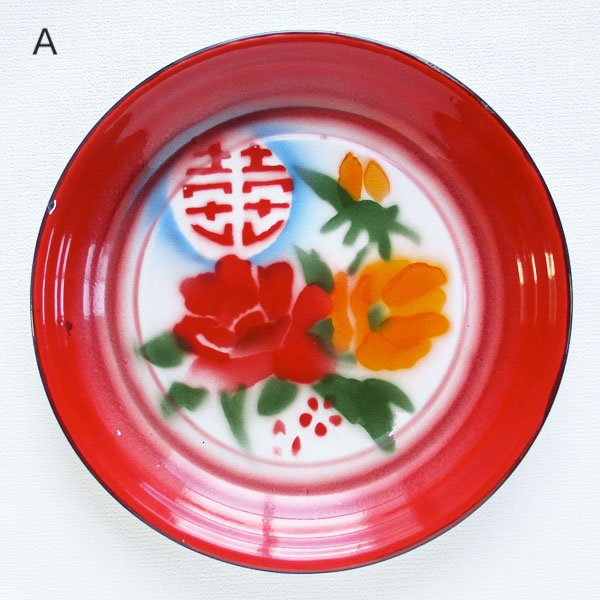 画像2: ダブルハピネス花柄ホーロートレイ